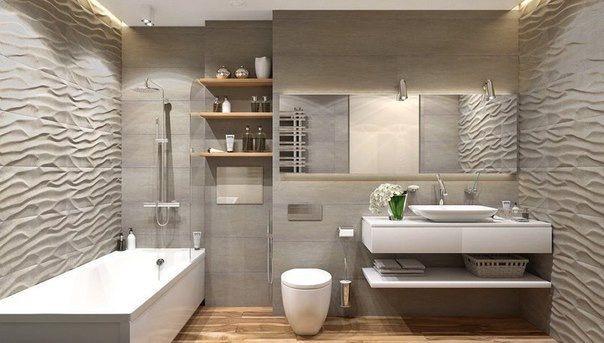 Рельефная плитка на стене Оформление ванной и су (если остановимся на варианте такой плитки) - пол и фронтальная стена в такой плитке, все остальные стены в ровной плитке в цвет, возможно с легкими разводами (чтоб грязь меньше была видна)