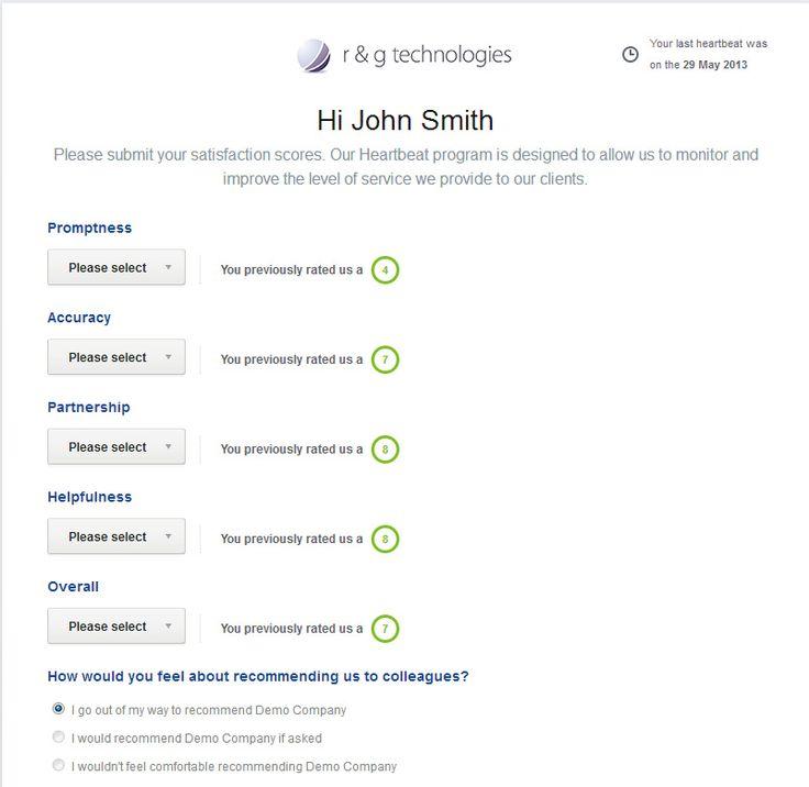 customer survey example - rg tech