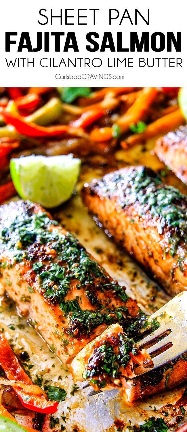 Hoja de Pan Fajita de salmón con cilantro Mantequilla de Lima - Este salmón es el mejor que he probado nunca!  Tan sabrosa y jugosa y la cal mantequilla de cilantro es increíble!  Sirvo esto con arroz y frijoles para una deliciosa comida completa fácil,!