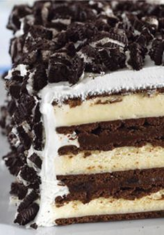Chocolate Cookie Ice Cream Sandwich Cake – This extraordinary cake starts with vanilla ice cream sandwiches and chopped chocolate cookies—and just continues to get better! Two words: Oh. My.