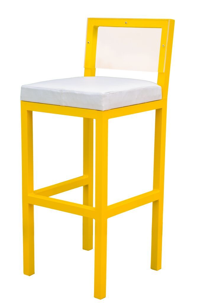 Yellow bar stool with white leather.