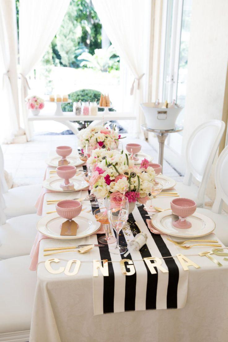 Graduation party table decoration ideas - Host The Prettiest Graduation Party Fashionable Hostess