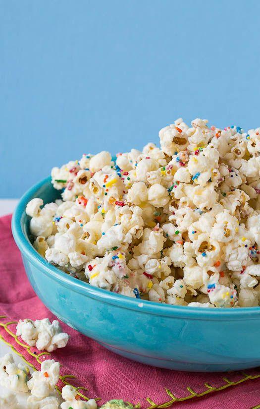 Cake Batter Popcorn - just a few ingredients turns boring popcorn into fun, festive popcorn that tastes like cake.