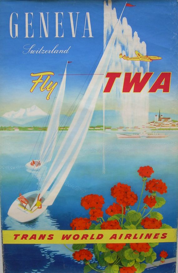Fly TWA (Trans World Airlines) to Geneva, Switzerland classic vintage travel poster