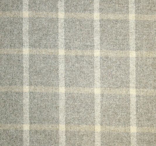 Jacob Check Wool Fabric A mottled grey wool fabric with a cream and beige check.
