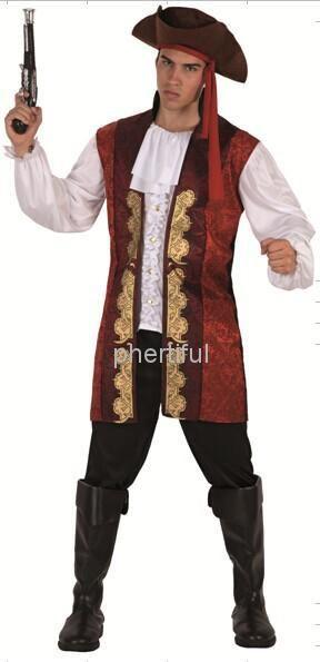 Оптовая продажа - 2016 новинка стиль карнавальный костюм косплей ну вечеринку одежды для мужчин вязаная пиратские костюмы супергерой красный цвет