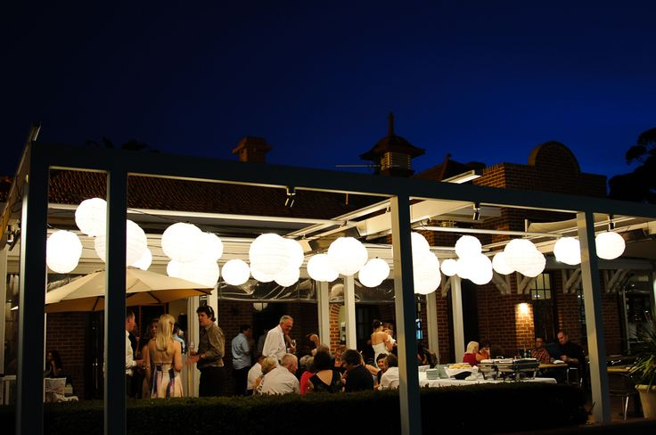 Wine Room's Terrace at nighttime. Photo courtesy of Melissa's Photography