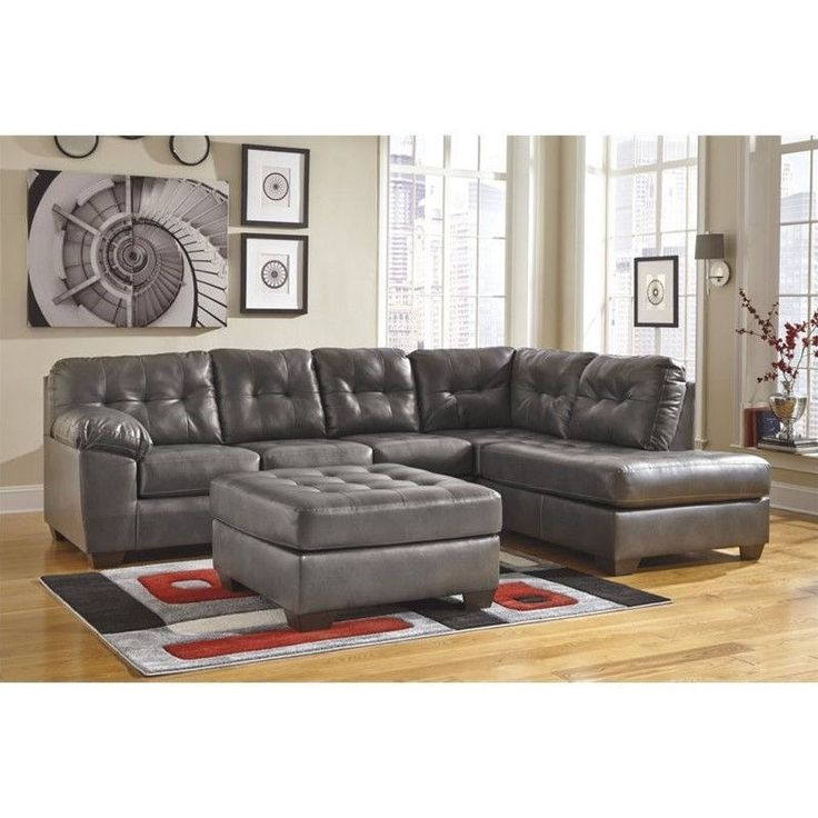 Ashley alliston right chaise leather sectional with for Ashley leather sectional with chaise