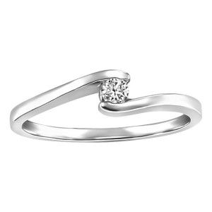 10KT White gold 0.08 ct Glacier Ice Canadian diamond solitaire ring. RIN-LCA-2877