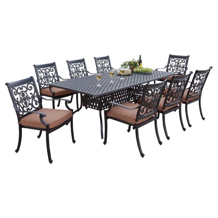 Cruz Cast Aluminum 9 Piece Rectangular Patio Dining Set   You Donu0027t Need A  Special Set Of Outdoor Dishes To Dine Around The Darlee St. Cruz Cast  Aluminum 9 ...
