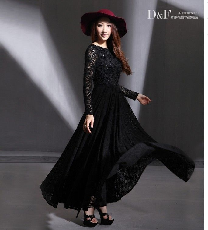 Aliexpress.com : Buy 2014 Spring women paillette lace maxi dress long sleeve black,white ultra long lace long dress full length party dress plus size from Reliable maxi casual dresses suppliers on Yo Yo Lau Shopping Mall. | Alibaba Group