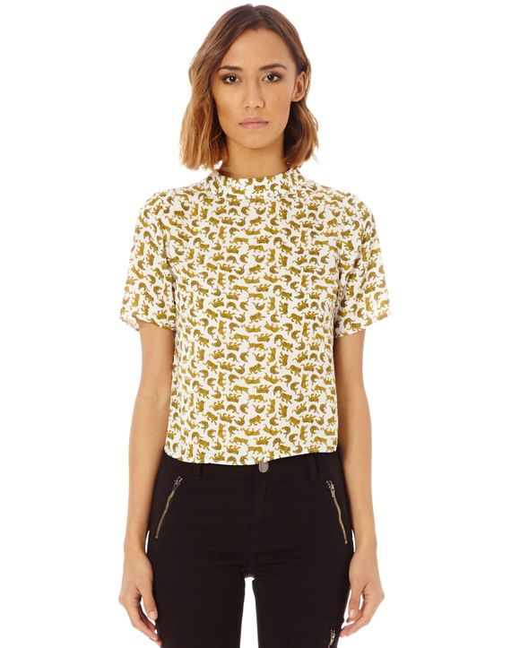 Cat Print High Neck Blouse
