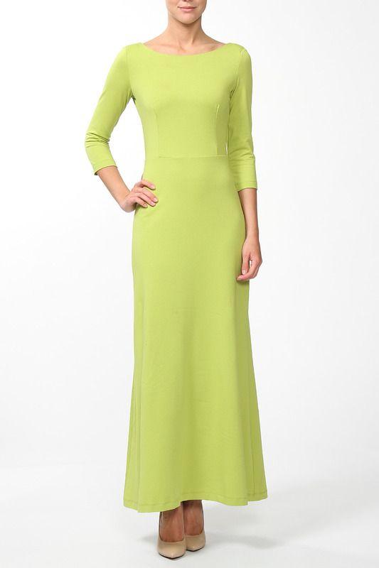 трикотажное расклешенное платье длины макси, зеленого цвета