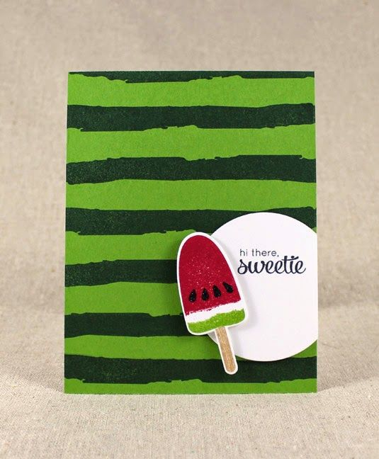 Watermelon Hello Card by Lizzie Jones for Papertrey Ink (May 2014)