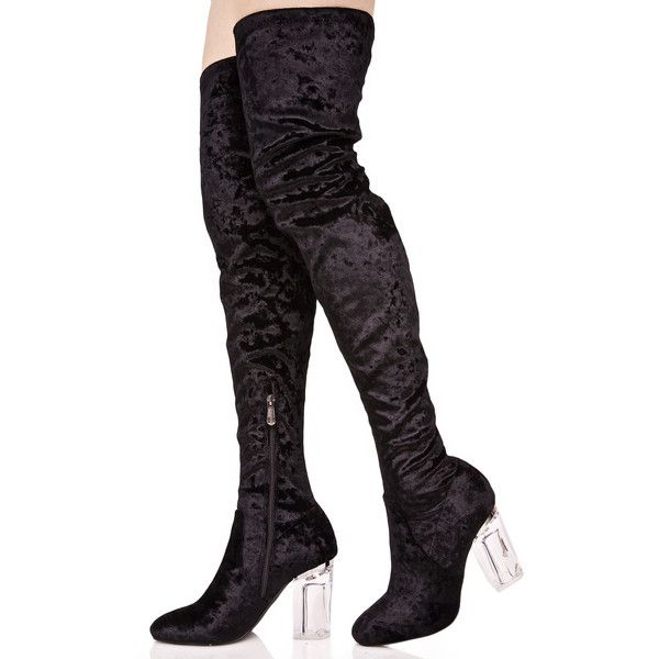Black Velvet Lucite Thigh High Boots ($68) ❤ liked on Polyvore featuring shoes, boots, thigh boots, black velvet boots, over knee boots, clear perspex boots and stretch boots