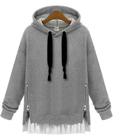 SHEIN Sweatshirt Hoodie Series : Grey Hooded Long Sleeve Zipper Loose Sweatshirt .This one is unique with zipper front and pulump back .