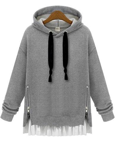 Sudadera suelta con capucha cremallera manga larga-gris 18.42