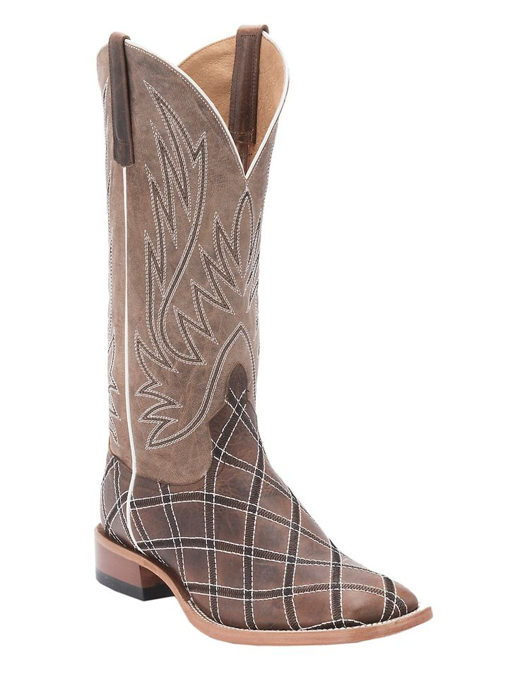Anderson Bean Horse Power Men's Distressed Brown with Moka Zigzag Patchwork Square Toe Western Boots | Cavender's