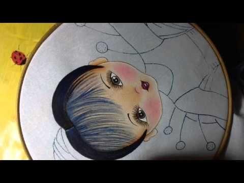 Pintura en tela niña flor campanita # 2 con cony - YouTube