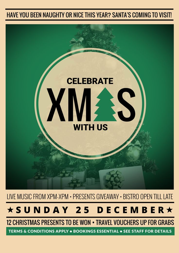 Celebrate Xmas at your venue with this FREE promotional template! Use this existing template or customise it as much as you like! Visit easil.com to get started!