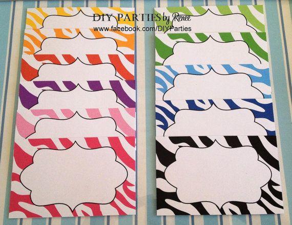 Candy buffet jar labels - rectangle - zebra stripe. Find us on Facebook: www.facebook.com/DIYParties