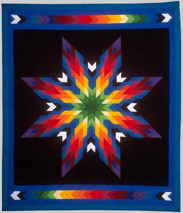 Lakota Star Quilt ~ The star is one of the most common design motifs used by Plains tribal quilters. It is sometimes called the Morning Star design, after the star which appears in the east in early April and represents the direction from which spirits of the dead return to earth, thus symbolizing the link between the living and the dead.