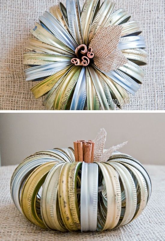 Canning Jar Lid Pumpkin...spray paint white, wrap book pages around rings and make leaves out of pages as well