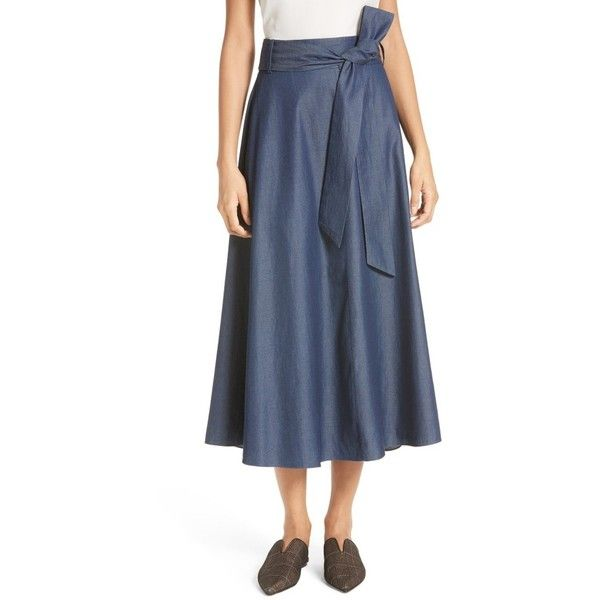 Women's Tibi Lightweight Denim Wrap Midi Skirt (1,355 ILS) ❤ liked on Polyvore featuring skirts, dark denim, flared denim skirt, midi skirt, a line midi skirt, flared midi skirt and midi flare skirt