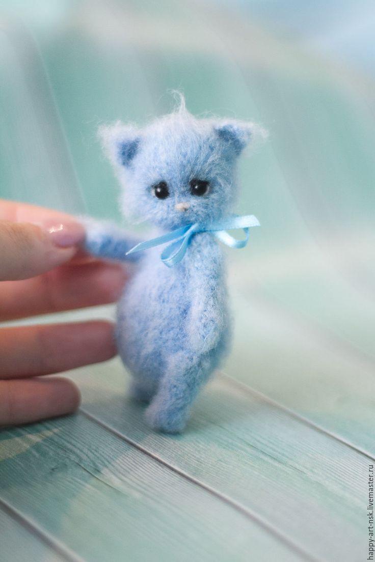 Купить Вязанный котенок Том - голубой, вязаная игрушка, котенок, котенок…