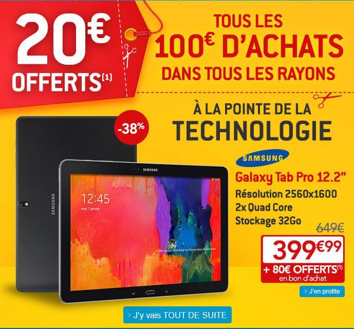 Samsung Galaxy Tab Pro, achat tablette tactile pas cher prix promo Galaxy Tab Pro à seulement 399.99 € sur Rue du Commerce au lieu de 649 €