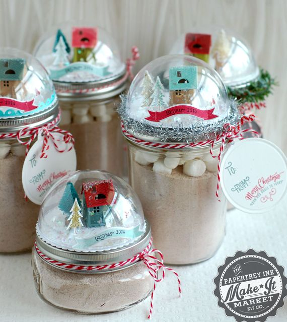 """Snow Globe Jar Lid Gift Toppers using with Papertrey Ink """"Tinsel & Tags"""" Dies and Stamps, Half ball clear ornaments and holographic mica flakes for faux snow. @papertreyink"""