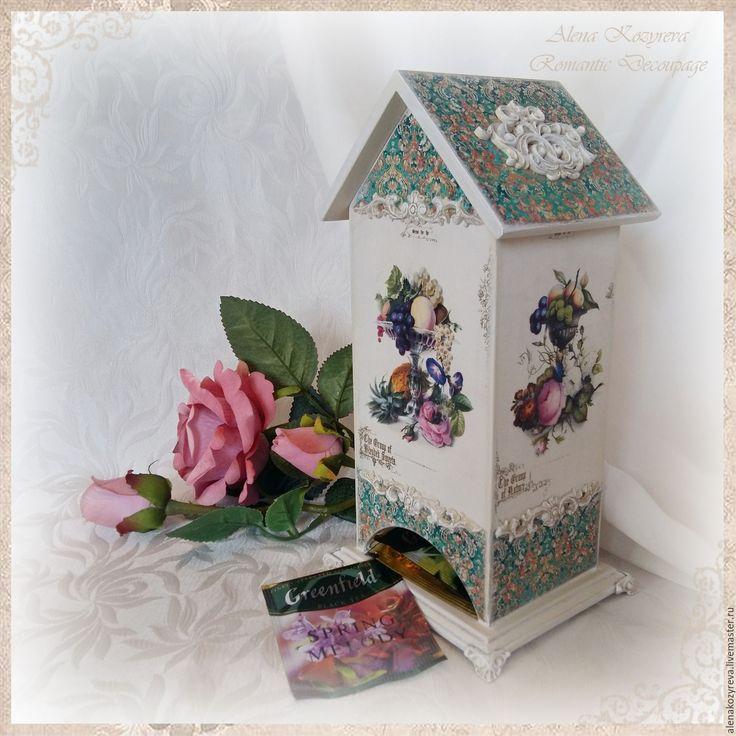 """Купить Чайный домик """"Элегантный"""" - мятный, чайный домик, чайный домик декупаж, для чайных пакетиков"""