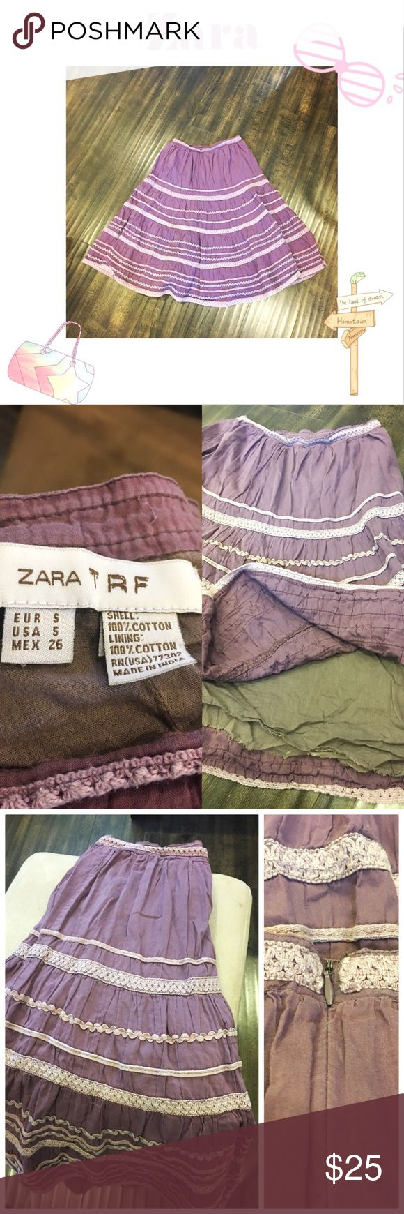 🌼New Listing🆕Beautiful Zara Skirt Beautiful Zara skirt. Purple. Size small. 100% cotton with lining. Very comfy and in good condition! Zara Skirts Midi