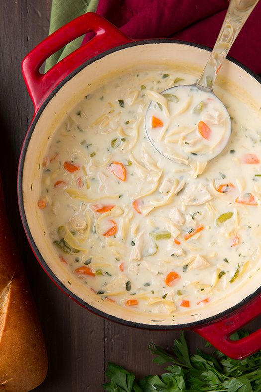 Creamy Chicken Noodle Soup - this is seriously delish! My new favorite chicken noodle soup!