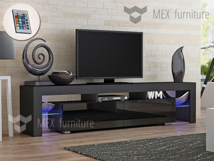 Modern TV Unit [015], 2 glass shelves with multicolour LED