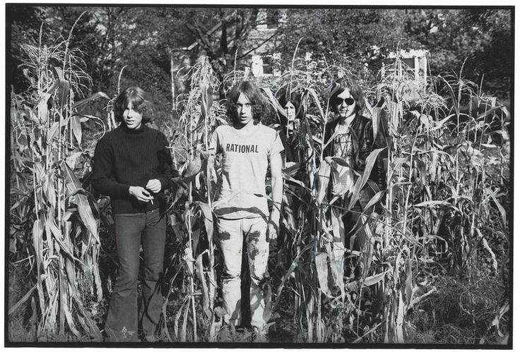 Children Of The Corn: The Stooges photographed in a cornfield behind their Ann Arbor house by Robert Mathieu in 1968, during their transition from former highschool students...