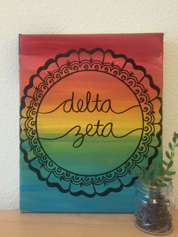 READY TO SHIP  Delta Zeta Sorority Canvas by CaliCanvas on Etsy