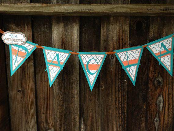 Vibrant Orange & Teal Bridal Shower Banner by DragonFlyPapier, $25.00
