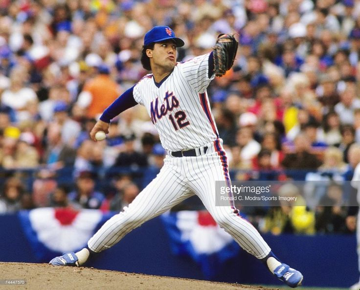 Ron Darling #12 of the New York Mets pitching to the Houston Astros during the League Championship Series at Shea Stadium in October 1986.