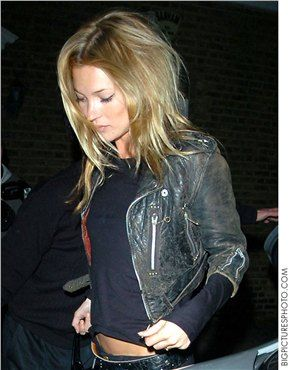 hair down and slightly disheveled & rock n' roll jacket. {kate moss}