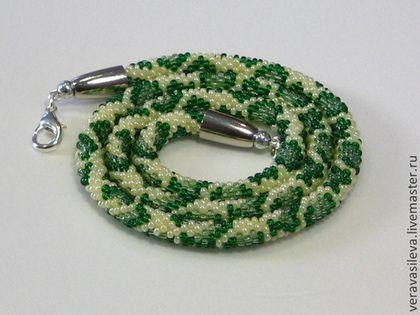 """жгут бисерный """"Змейка"""" - зелёный,жгут бисерный,змейка,змеиный принт,рептилия"""