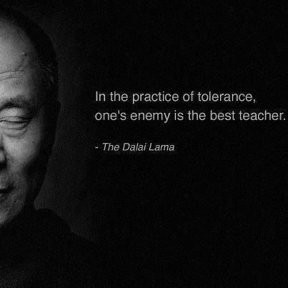 """""""In the practice of tolerance, one's enemy is the best teacher."""" - The Dalai Lama"""