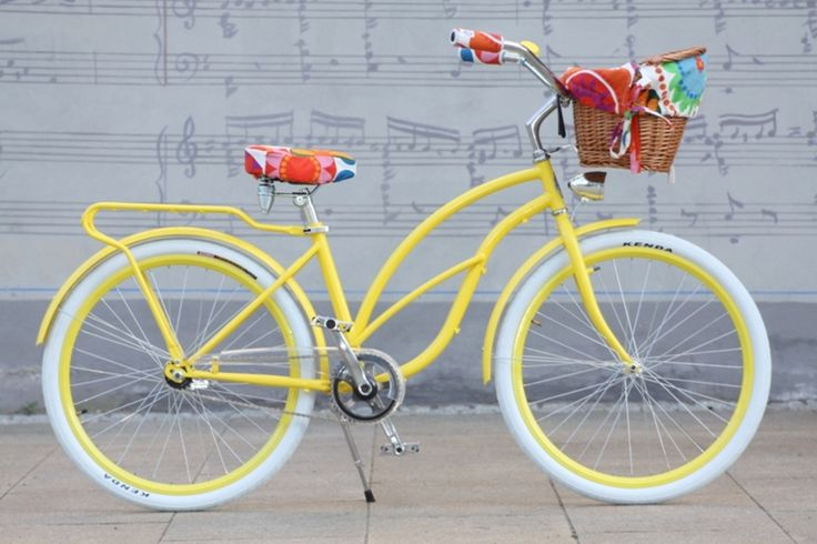 Beach Cruiser Baskets and Accessories | Retro Beach Cruiser Woman Bike - Yellow Malibu - Naturally Connected