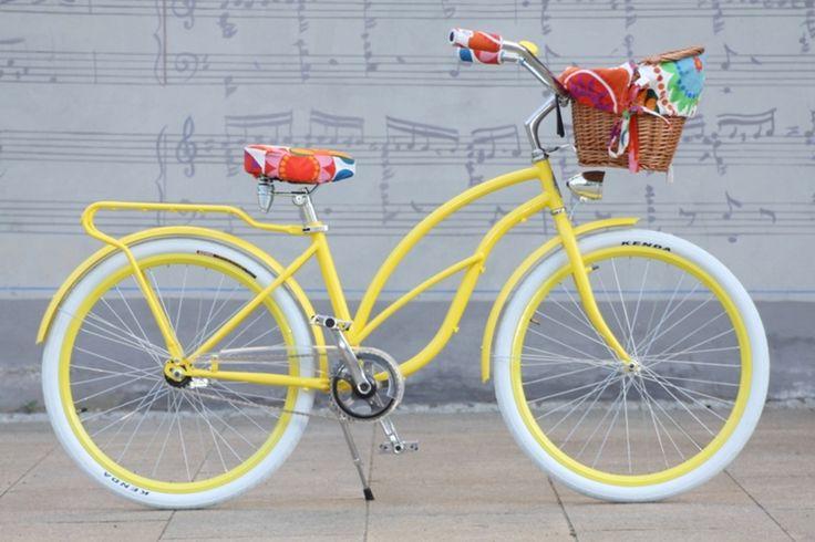 Beach Cruiser Baskets and Accessories | Retro Beach Cruiser Woman Bike - Yellow Malibu - Naturally Connected