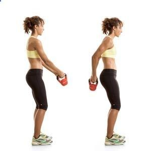 Kettlebell workout - 8 moves   The Workout  Starting with the first move, complete each exercise back-to-back without resting. Rest for one to two minutes, then repeat for a total of two or three circuits. Follow this routine two or three days a week, using a 10- to 15-pound kettlebell.