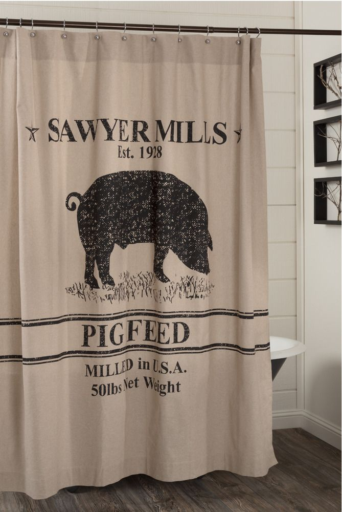 Sawyer Mill Pig Shower Curtain Farmhouse Pig Feed Vhc Primitive