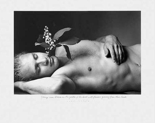 Young Men Dream in the Garden of the Dead with Flowers Growing From Their Head by Duane Michals, 1995
