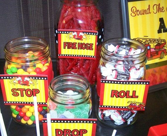 FIREMAN BIRTHDAY  FOOD Labels or Place Cards  by KROWNKREATIONS, $4.99