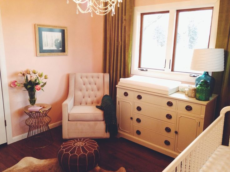 We love mixing old (like this gorgeous thrifted dresser) and new (like this elegant Rockabye Co. glider from @Target) in the nursery! #nursery