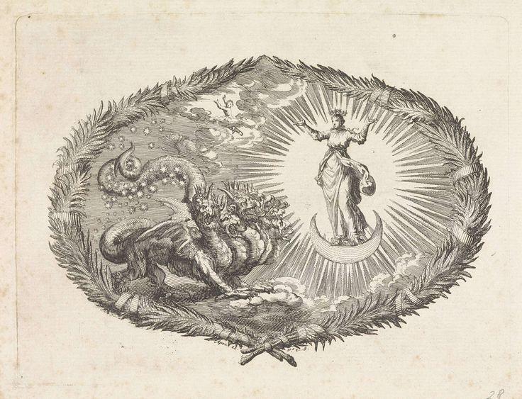 Jan Luyken | Verschijning van de apocalyptische vrouw en de zevenkoppige draak, Jan Luyken, Pieter Mortier, 1700 | Een voorstelling in een cartouche van bladeren. Een vrouw, bekleed met de zon en met een kroon van twaalf sterren, staat op een halve maan. Naast haar een grote draak, met zeven gekroonde koppen. Met zijn staart sleept de draak de sterren aan de hemel mee. In de lucht het pasgeboren kind van de vrouw die de draak wilde verslinden. Het kind vliegt naar de hemel. Onder de…